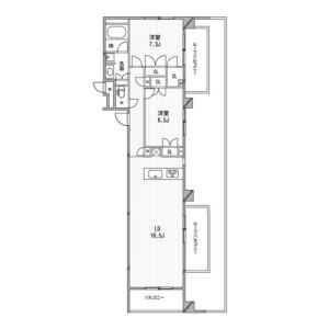 2LDK 맨션 in Shimomeguro - Meguro-ku Floorplan