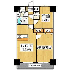 2LDK Mansion in Shimanochi - Osaka-shi Chuo-ku Floorplan
