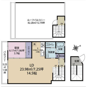 1LDK Mansion in Kitaaoyama - Minato-ku Floorplan