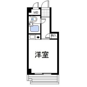 1R 맨션 in Bentendori - Yokohama-shi Naka-ku Floorplan