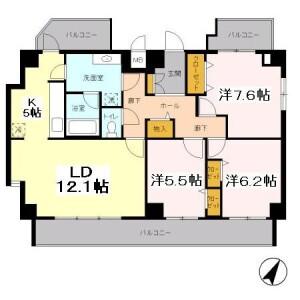 3LDK Mansion in Tamagawadai - Setagaya-ku Floorplan