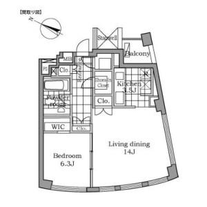 港区赤坂-1LDK公寓大厦 楼层布局
