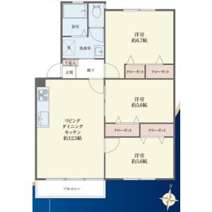3LDK {building type} in Minamisenzoku - Ota-ku Floorplan