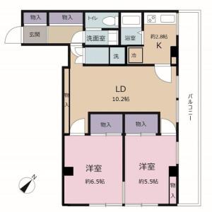 2LDK Mansion in Shinjuku - Chiba-shi Chuo-ku Floorplan