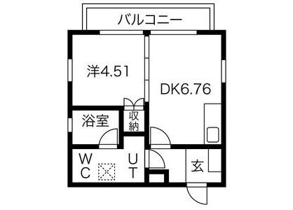 1LDK Apartment to Rent in Nagoya-shi Kita-ku Floorplan