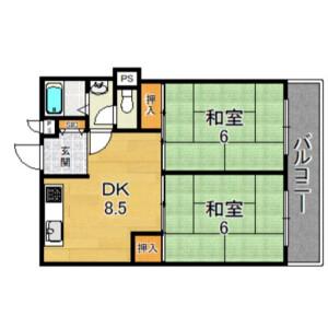 2LDK Mansion in Hanatenhigashi - Osaka-shi Tsurumi-ku Floorplan