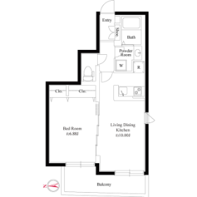 1LDK Mansion in Wakamatsucho - Shinjuku-ku Floorplan