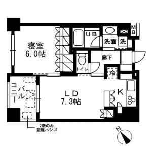 1LDK Mansion in Nihombashihamacho - Chuo-ku Floorplan