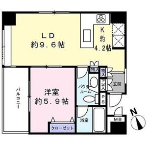 1LDK {building type} in Kitasaiwai - Yokohama-shi Nishi-ku Floorplan