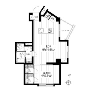 1LDK {building type} in Kamiosaki - Shinagawa-ku Floorplan