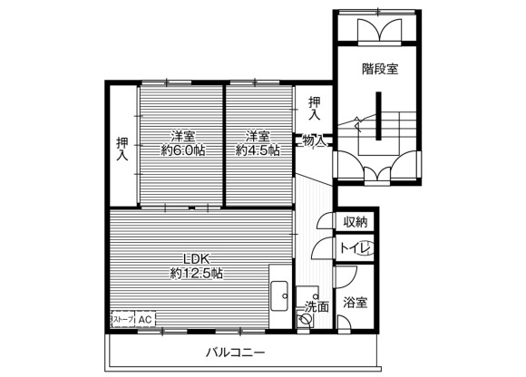 2LDK Apartment to Rent in Sunagawa-shi Floorplan