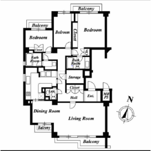 3LDK Mansion in Akasaka - Minato-ku Floorplan