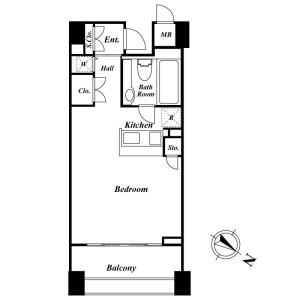 1R Mansion in Kamiosaki - Shinagawa-ku Floorplan