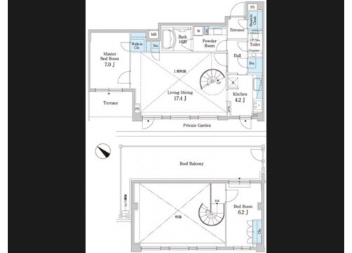 2SLDK Apartment to Rent in Meguro-ku Floorplan