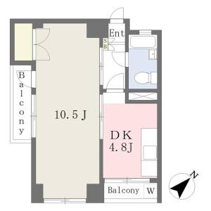 1DK Mansion in Okano - Yokohama-shi Nishi-ku Floorplan
