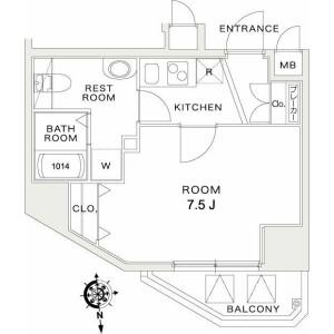 1K Mansion in Hachimancho - Fuchu-shi Floorplan