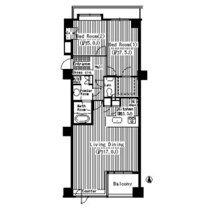 2LDK Mansion in Tsukuda - Chuo-ku Floorplan