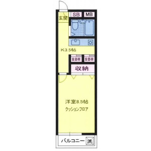 1K Mansion in Matsubara - Setagaya-ku Floorplan