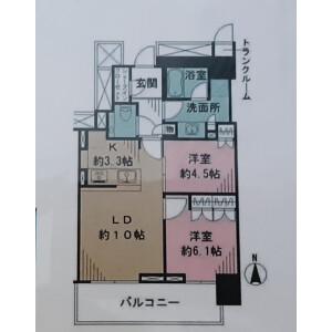 2LDK {building type} in Kachidoki - Chuo-ku Floorplan