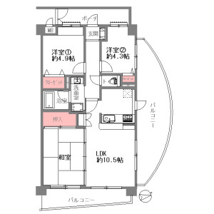 3LDK {building type} in Rokumanjicho - Higashiosaka-shi Floorplan