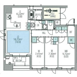 3LDK Mansion in Shinkawa - Chuo-ku Floorplan