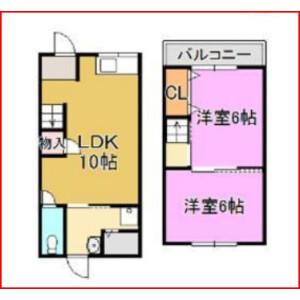 2LDK {building type} in Sembonnaka - Osaka-shi Nishinari-ku Floorplan