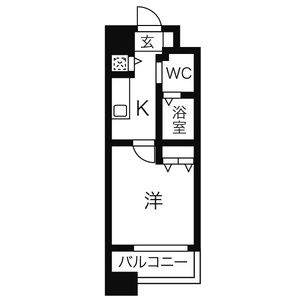 名古屋市西区 新道 1K マンション 間取り