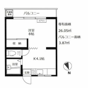 1K Mansion in Nishikicho - Tachikawa-shi Floorplan