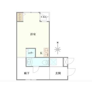 1R {building type} in Tomihisacho - Shinjuku-ku Floorplan