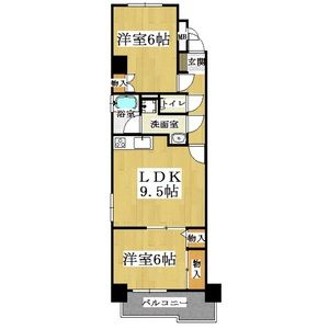 2LDK Mansion in Shikitsunishi - Osaka-shi Naniwa-ku Floorplan