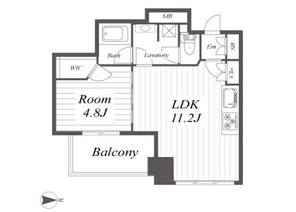 1LDK Apartment to Buy in Osaka-shi Chuo-ku Floorplan