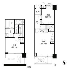 2DK Mansion in Akasaka - Minato-ku Floorplan