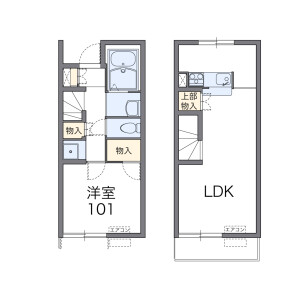 1LDK Apartment in Unuma asahimachi - Kakamigahara-shi Floorplan