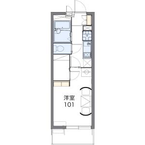 堺市北區百舌鳥西之町-1K公寓大廈 房間格局