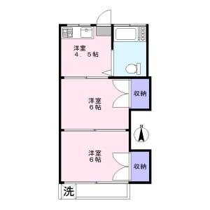 丰岛区駒込-2DK公寓 楼层布局