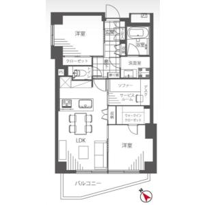 2LDK {building type} in Aobadai - Meguro-ku Floorplan