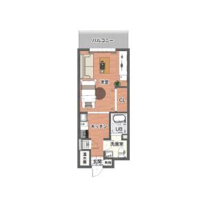 1K Mansion in Mamedocho - Yokohama-shi Kohoku-ku Floorplan