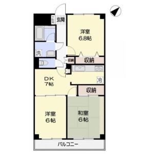 3DK Mansion in Onomachi - Ichikawa-shi Floorplan