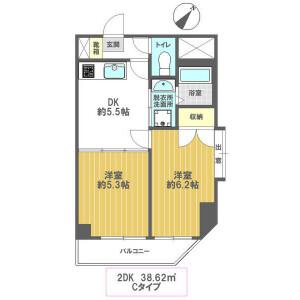 2DK Mansion in Higashishinkoiwa - Katsushika-ku Floorplan