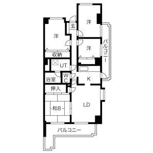 4LDK Mansion in Inokoishi - Nagoya-shi Meito-ku Floorplan