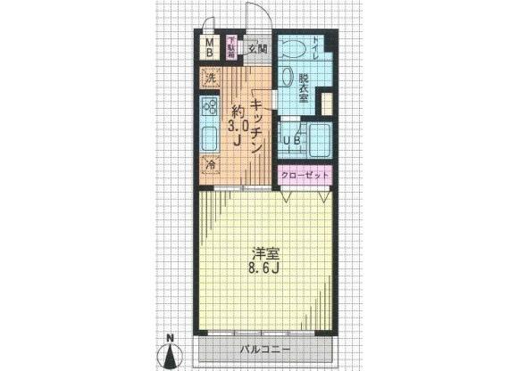在世田谷區內租賃1K 公寓大廈 的房產 房間格局
