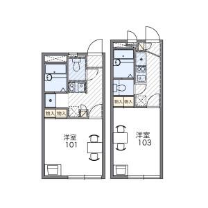 所沢市東所沢-1K公寓 房間格局