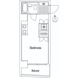1R Mansion in Midoricho - Fuchu-shi Floorplan