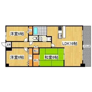 3LDK Mansion in Higashikonoikecho - Higashiosaka-shi Floorplan