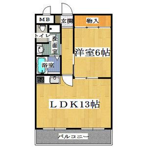 1LDK Mansion in Sangenyanishi - Osaka-shi Taisho-ku Floorplan