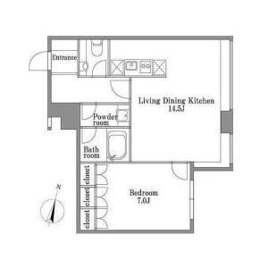 1LDK 맨션 in Mita - Minato-ku Floorplan