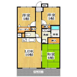 3LDK Mansion in Ekiminamidori - Kobe-shi Hyogo-ku Floorplan