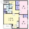 2LDK Apartment to Rent in Takatsuki-shi Floorplan