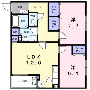 2LDK Apartment in Gunge shimmachi - Takatsuki-shi Floorplan