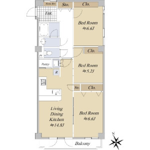 3LDK {building type} in Higashiazabu - Minato-ku Floorplan